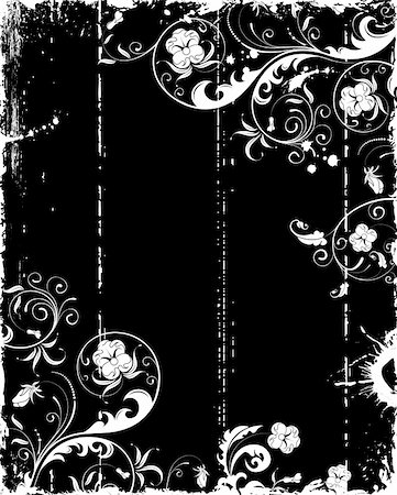 flower drawings black - Grunge paint flower frame with blots, element for design, vector illustration Stock Photo - Budget Royalty-Free & Subscription, Code: 400-03932667