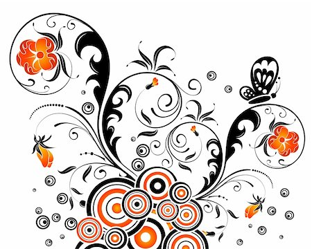 flower drawings black - Abstract floral chaos with butterfly, element for design, vector illustration Stock Photo - Budget Royalty-Free & Subscription, Code: 400-03932663