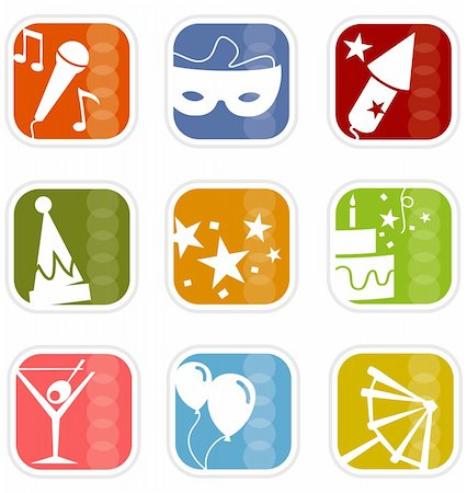 Stylish party icons with a retro flavor—very mid-century modern; Easy-edit layered vector art. All elements whole so you can move them around. Stock Photo - Budget Royalty-Free & Subscription, Code: 400-03932921