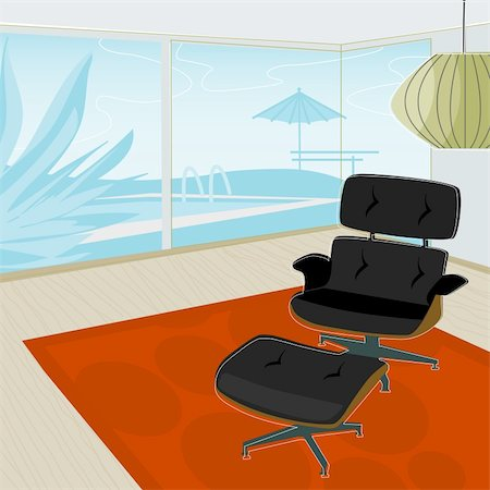 Retro-stylized modern lounge chair with view of swimming pool. Each item is grouped so you can use them independently from the background. Layered file for easy edit. Stock Photo - Budget Royalty-Free & Subscription, Code: 400-03932923