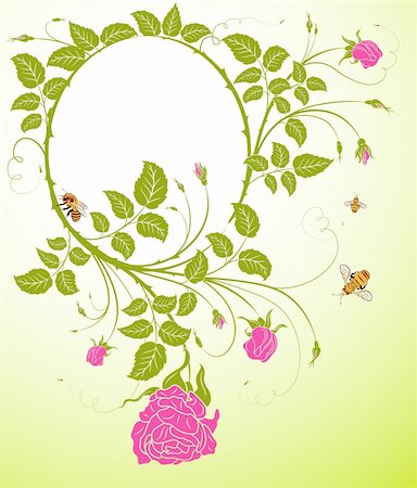 rose flower in oval vector - Abstract floral frame with bee, element for design, vector illustration Stock Photo - Budget Royalty-Free & Subscription, Code: 400-03933269