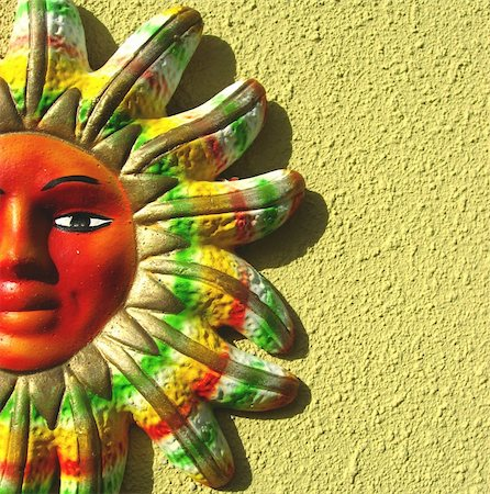 Picture of a clay mayan sun on a wall Stock Photo - Budget Royalty-Free & Subscription, Code: 400-03944310