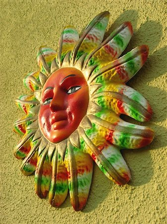 Picture of a clay mayan sun on a wall Stock Photo - Budget Royalty-Free & Subscription, Code: 400-03944311
