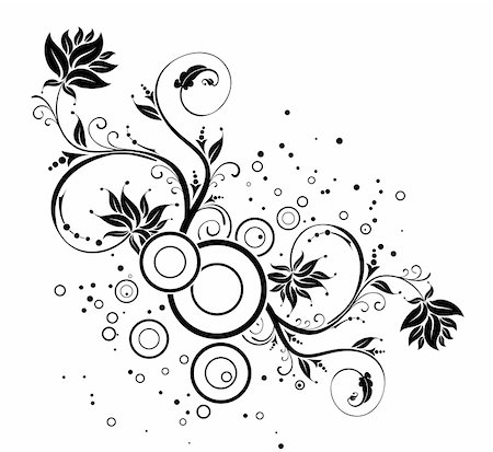 flower drawings black - Flower background with circles, element for design, vector illustration Stock Photo - Budget Royalty-Free & Subscription, Code: 400-03945588