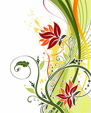 simsearch:400-03995944,k - Grunge paint flower background with waves, element for design, vector illustration Stock Photo - Budget Royalty-Free & Subscription, Code: 400-03945592