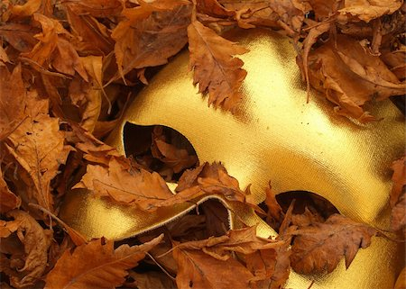 party paper falling - Mask and autumn leaves Stock Photo - Budget Royalty-Free & Subscription, Code: 400-03947337