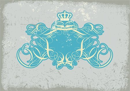 An heraldic titling frame, blank so you can add your own images. Grunge background .  Vector illustration. Stock Photo - Budget Royalty-Free & Subscription, Code: 400-03948937