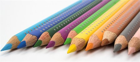 designer backgrounds - color pencils close up over white background Stock Photo - Budget Royalty-Free & Subscription, Code: 400-03948999