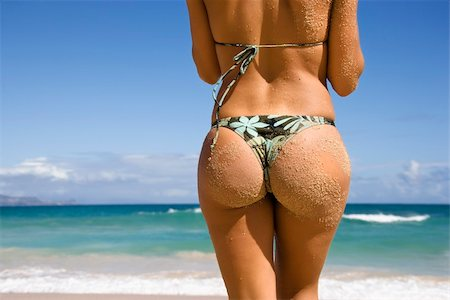 simsearch:400-04002563,k - Back view of woman in thong bikini on Maui, Hawaii beach. Stock Photo - Budget Royalty-Free & Subscription, Code: 400-03949079