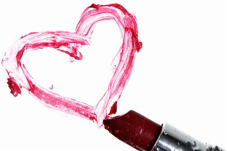 Lipstick and an heart on white Stock Photo - Budget Royalty-Free & Subscription, Code: 400-03949147