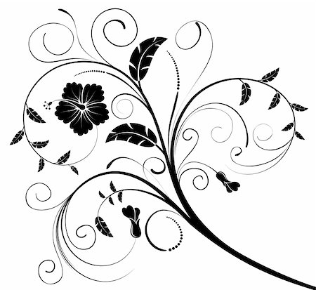 flower drawings black - Flower background with buds, element for design, vector illustration Stock Photo - Budget Royalty-Free & Subscription, Code: 400-03942523