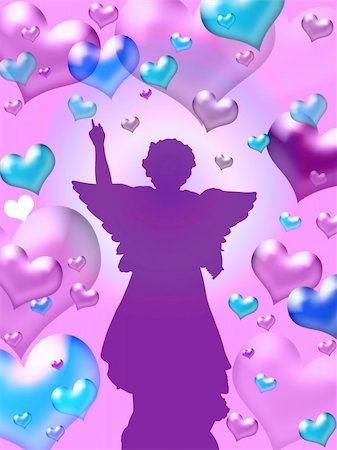 Illustration of purple hearts background with winged angel silhouette - valentine card Stock Photo - Budget Royalty-Free & Subscription, Code: 400-03942712