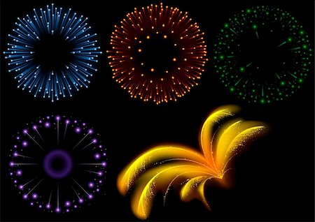 fireworks with yellow and green background - Fireworks Set - Detailed and colored vector illustration with special lightning effects. Stock Photo - Budget Royalty-Free & Subscription, Code: 400-03942748
