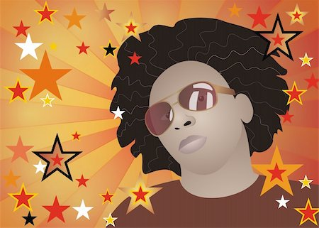 Vector illustration of funky afroamerican man with stars background Stock Photo - Budget Royalty-Free & Subscription, Code: 400-03942981