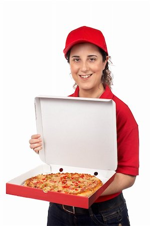 fat italian woman - A pizza delivery woman holding a hot pizza. Isolated on white Stock Photo - Budget Royalty-Free & Subscription, Code: 400-03943047