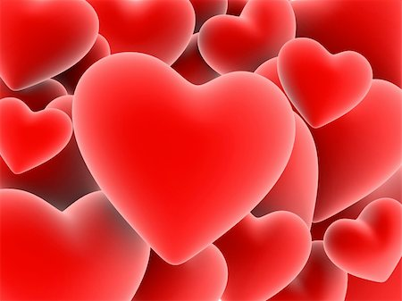 3d rendered illustration of many red hearts Stock Photo - Budget Royalty-Free & Subscription, Code: 400-03954564