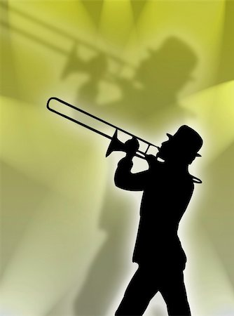 Trumpet player silhouette in the yellow lights Stock Photo - Budget Royalty-Free & Subscription, Code: 400-03955796