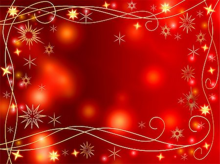 red colour background with white fireworks - golden 3d stars and snowflakes over red background with lights and gleams Stock Photo - Budget Royalty-Free & Subscription, Code: 400-03959847