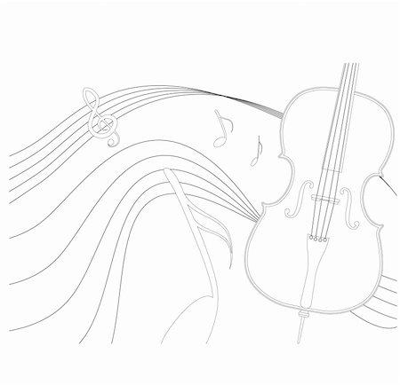 A vector cello. Stock Photo - Budget Royalty-Free & Subscription, Code: 400-03952976