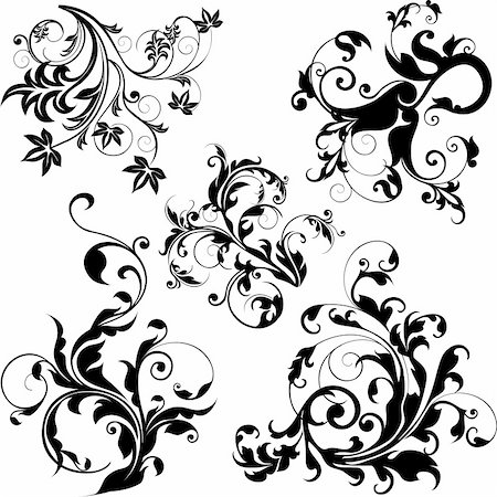 scroll (design) - floral design elements Stock Photo - Budget Royalty-Free & Subscription, Code: 400-03967614