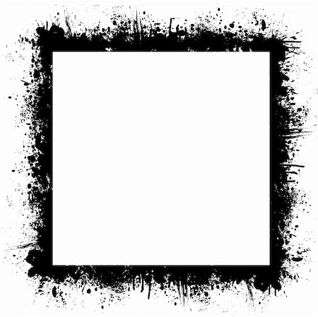 simsearch:400-03931671,k - Black and white border with ink spray and blank white copy space Stock Photo - Budget Royalty-Free & Subscription, Code: 400-03968594
