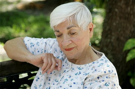 sleepy old woman - A sweet senior lady in the park resting and remembering. Stock Photo - Budget Royalty-Free & Subscription, Code: 400-03969296