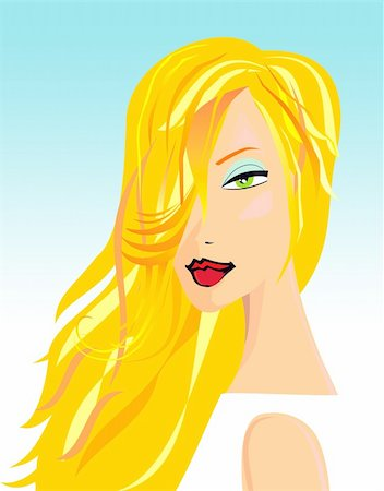 Illustration of a prettyblon woman with make up Stock Photo - Budget Royalty-Free & Subscription, Code: 400-03962072