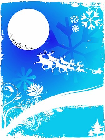 Christmas background with flying reindeer, abstract vector illustration Stock Photo - Budget Royalty-Free & Subscription, Code: 400-03963139