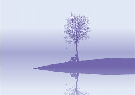 elegant tree drawings - lonely  woman sits under a tree Stock Photo - Budget Royalty-Free & Subscription, Code: 400-03963576