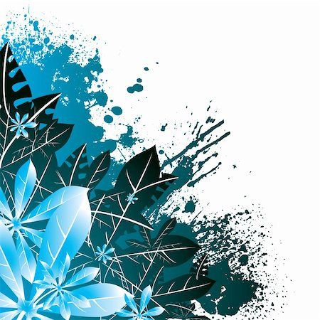 flower drawings black - leaf design in green and blue ideal as a abstract background Stock Photo - Budget Royalty-Free & Subscription, Code: 400-03963623