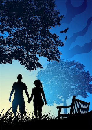 Young Couple in Park Stock Photo - Budget Royalty-Free & Subscription, Code: 400-03971346
