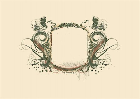 Decorative   frame   with heraldic ornament and sculptural elements on grunge background. vector illustration Stock Photo - Budget Royalty-Free & Subscription, Code: 400-03971515