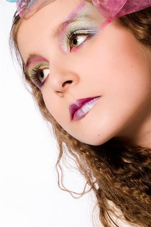 Studio portrait of a young girl with extreme make-up Stock Photo - Budget Royalty-Free & Subscription, Code: 400-03972575