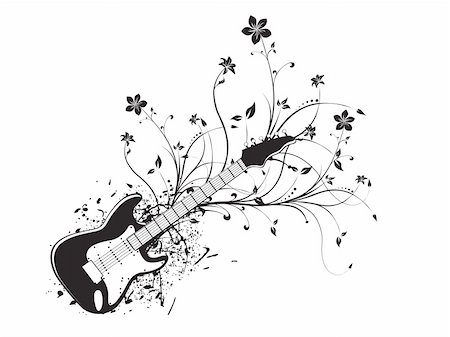 vector illustration of grunge floral musical instrument Stock Photo - Budget Royalty-Free & Subscription, Code: 400-03984340