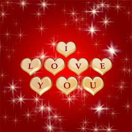 3d golden hearts, red letters, text - I love you, stars Stock Photo - Budget Royalty-Free & Subscription, Code: 400-03985747