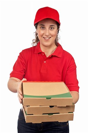 fat italian woman - A pizza delivery woman holding three boxes. Isolated on white Stock Photo - Budget Royalty-Free & Subscription, Code: 400-03987975