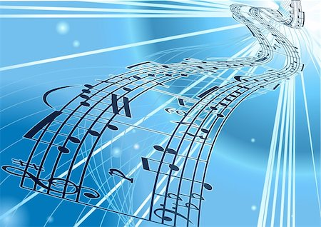 An abstract vector music notes background with flowing a ribbon of a musical notes score Stock Photo - Budget Royalty-Free & Subscription, Code: 400-03989233