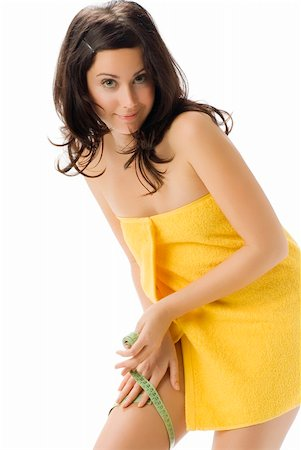 fat italian woman - pretty young brunette wearing a yellow towel and measuring her legs making funny face Stock Photo - Budget Royalty-Free & Subscription, Code: 400-03983784