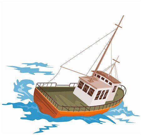 sailing boat storm - Illustration on marine transport Stock Photo - Budget Royalty-Free & Subscription, Code: 400-03995432