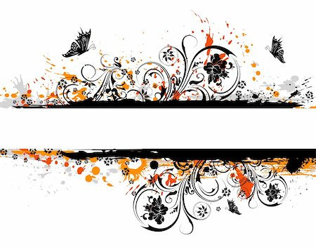 simsearch:400-03995944,k - Grunge paint flower background with butterfly, element for design, vector illustration Stock Photo - Budget Royalty-Free & Subscription, Code: 400-03996098