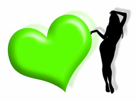 Black woman silhouette in love with hearts Stock Photo - Budget Royalty-Free & Subscription, Code: 400-03996533