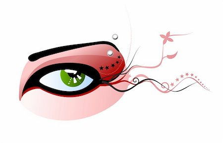 Vector illustration of a green eye with red make-up and pierced eyebrow Stock Photo - Budget Royalty-Free & Subscription, Code: 400-03998535
