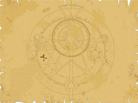 Vector illustration of old scroll with alchemy pentagram Stock Photo - Budget Royalty-Free & Subscription, Code: 400-03990829