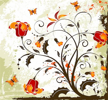 simsearch:400-03995944,k - Grunge paint flower background with butterfly, element for design, vector illustration Stock Photo - Budget Royalty-Free & Subscription, Code: 400-03993709