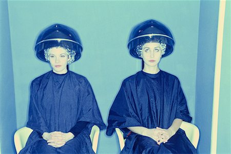 retro beauty salon images - Women under salon hair dryers Stock Photo - Premium Royalty-Free, Code: 604-00226008
