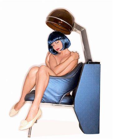 retro beauty salon images - Nude woman sitting under salon hair dryer/ Stock Photo - Premium Royalty-Free, Code: 604-00278513