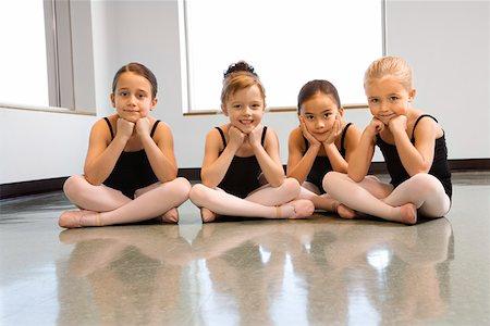 preteen models asian - Portrait of ballet students sitting on floor Stock Photo - Premium Royalty-Free, Code: 604-01119427