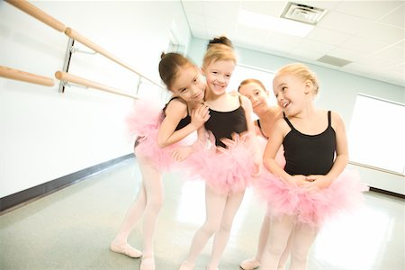preteen models asian - Girls in ballet class posing together Stock Photo - Premium Royalty-Free, Code: 604-01119457