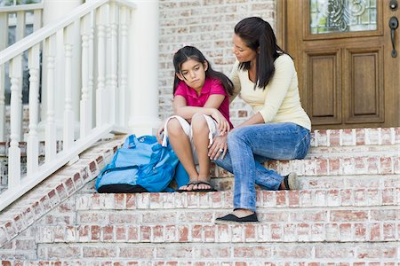 person overwhelmed stresss - Mother and Daughter on Steps Stock Photo - Premium Royalty-Free, Code: 600-04625354