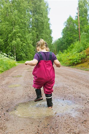 stamped - Young Girl Playing in Puddle, Sweden Stock Photo - Premium Royalty-Free, Code: 600-04926394